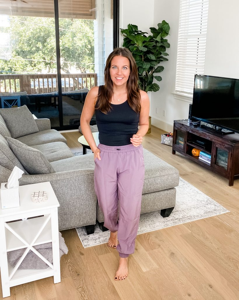 cozy loungewear | black fitted tank top | purple jogger pants | texas fashion blog lady in violet