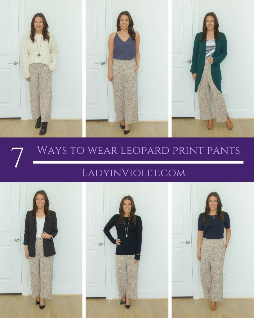 seven ways to wear leopard print pants for fall | work outfits | petite fashion blogger lady in violet