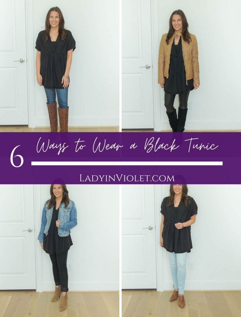 six ways to wear a black tunic in the fall | casual fall outfit ideas | popular us fashion blog Lady in Violet