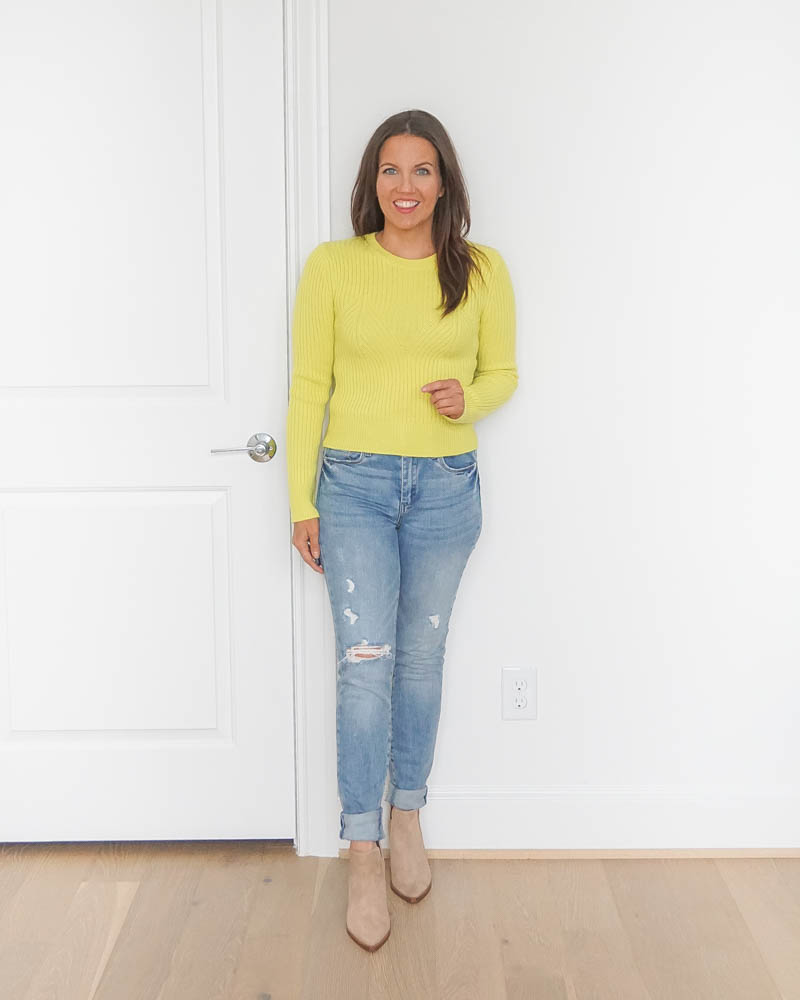 winter outfits | yellow fitted cropped sweater | distressed jeans | Petite Fashion Blog Lady in Violet