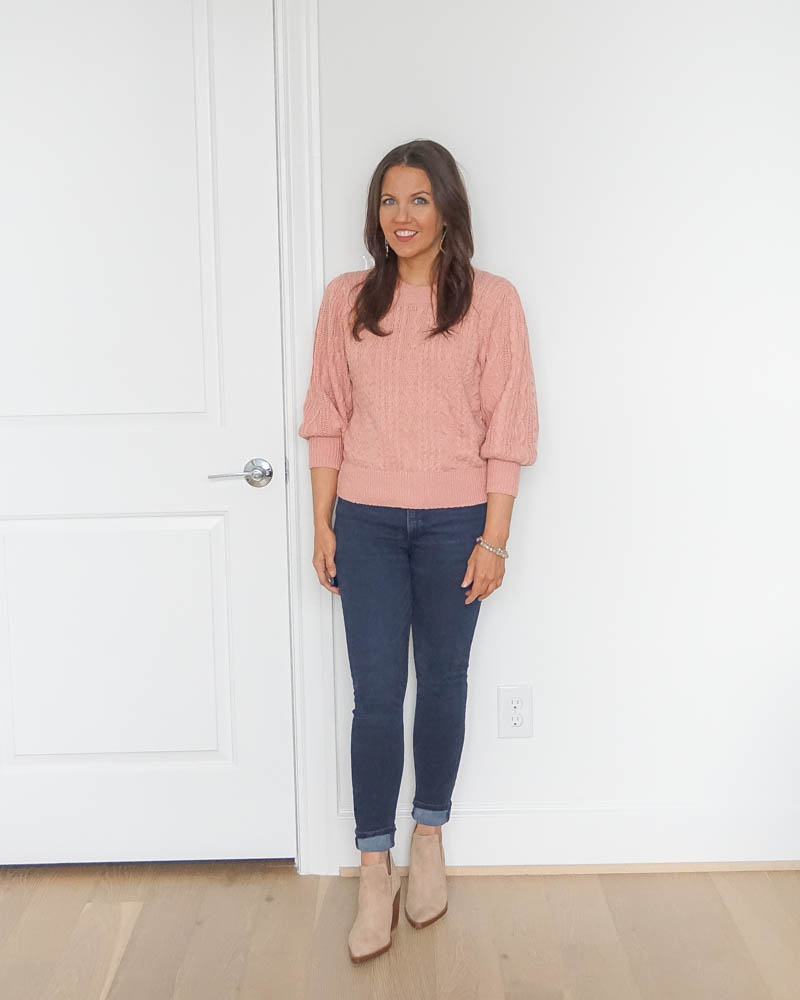 casual outfits | pink short sweater | light tan booties | petite fashion blogger lady in violet