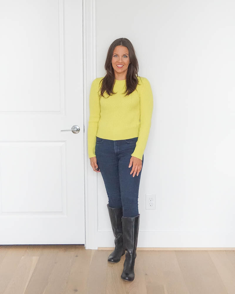 winter outfits | lime yellow sweater | black knee high boots | texas fashion blog lady in violet