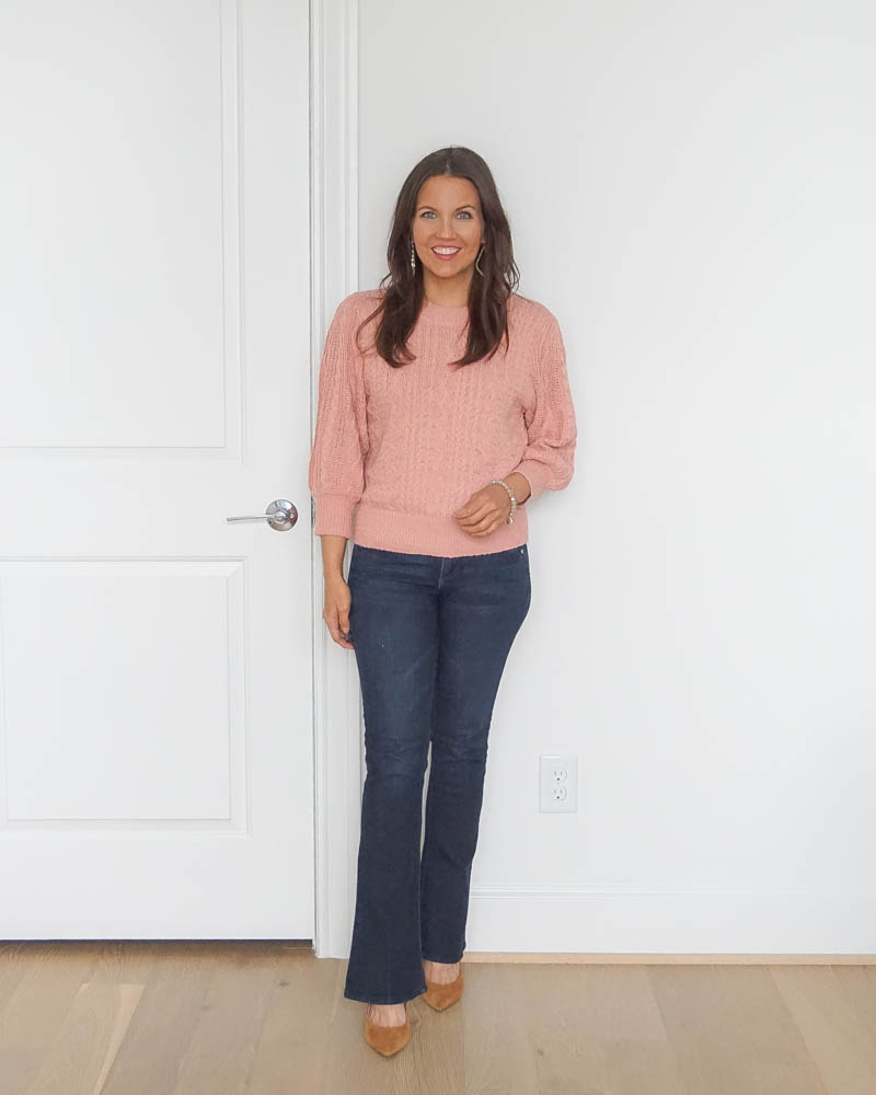 fall outfits | pink short sweater | bootcut jeans for petite women | Texas fashion blogger Lady in violet