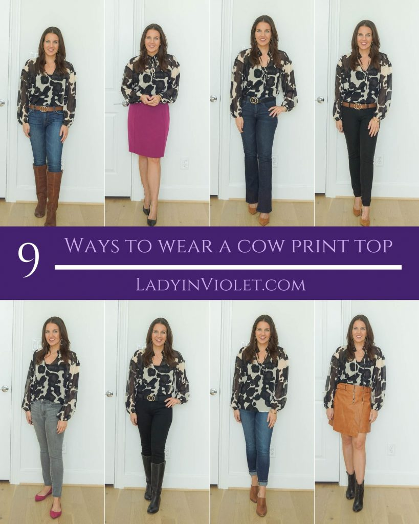 nine ways to wear a cow print top | fall outfit ideas | petite fashion blogger lady in violet