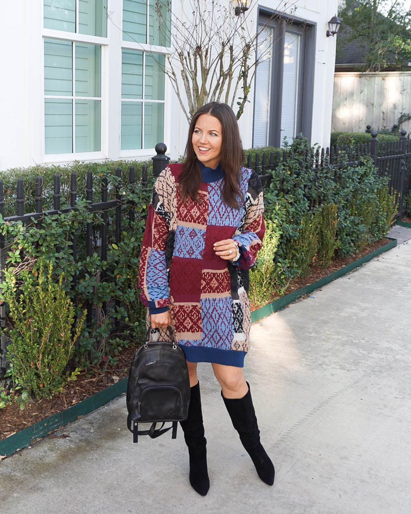 winter outfit | multicolor sweater dress | black boots | Texas Fashion Blog Lady in Violet