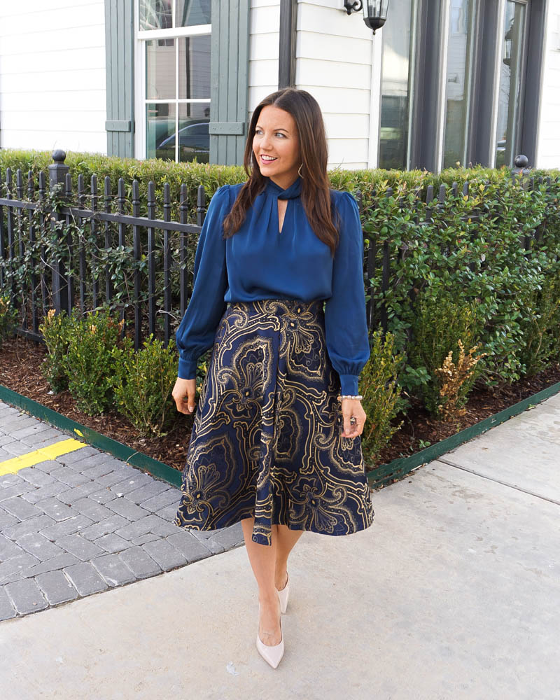 winter work outfit | dark blue long sleeve blouse | gold navy jacquard skirt | Petite Fashion Blog Lady in Violet