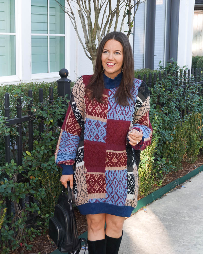cold weather outfit | print sweater dress | black backpack purse | Houston Fashion Blog Lady in Violet