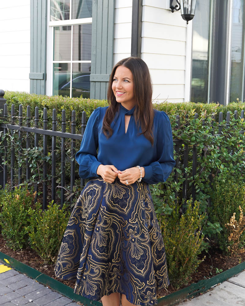 fall work outfit | blue silk blouse | gold navy flared skirt | Houston Fashion Blog Lady in Violet