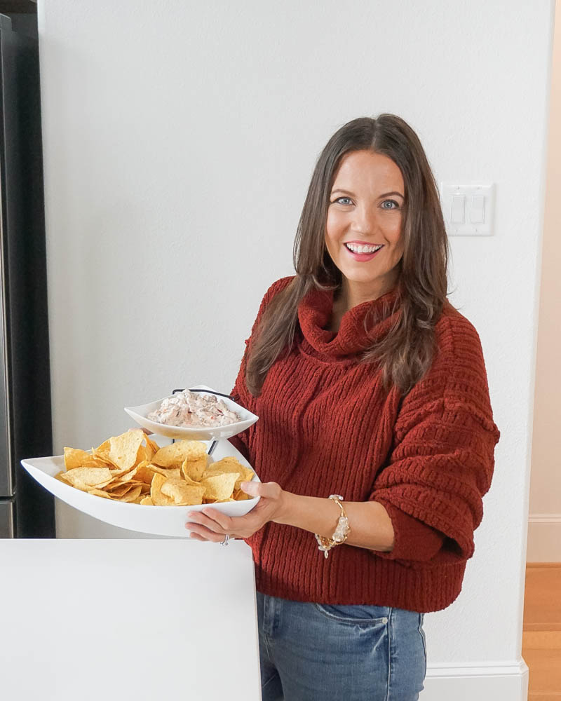 super bowl party food | cheesy sausage dip with tortilla chips | maroon sweater | Texas Blogger Lady in Violet