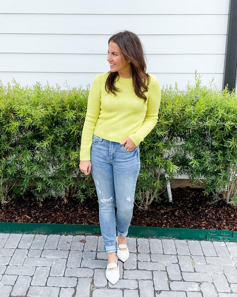 winter outfit | yellow fitted sweater | white mules | Petite Fashion Blog Lady in Violet