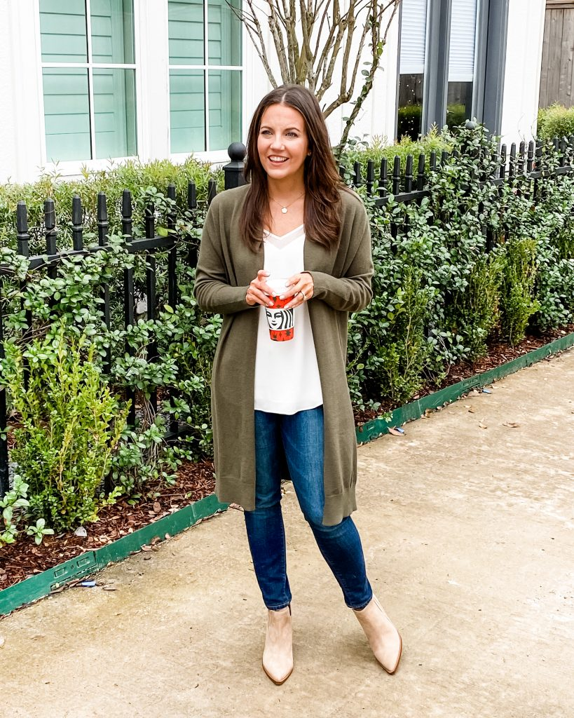 layered casual outfit | olive green long cardigan | tan loafers | Texas Fashion Blog Lady in Violet