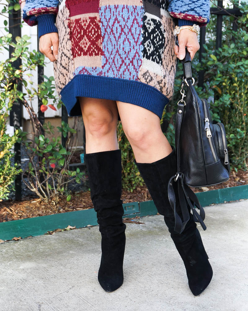 winter outfits | black suede boots | blue sweater dress | Petite Fashion Blog Lady in Violet