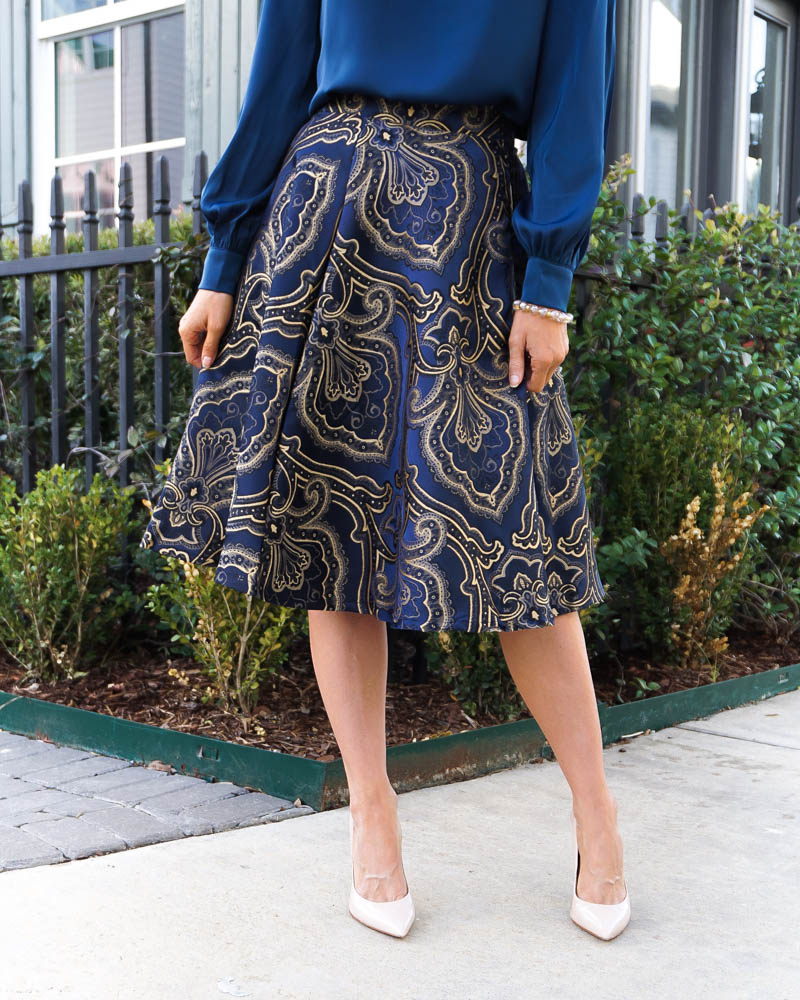 workwear | navy gold midi skirt | nude colored heels | Texas Fashion Blog Lady in Violet