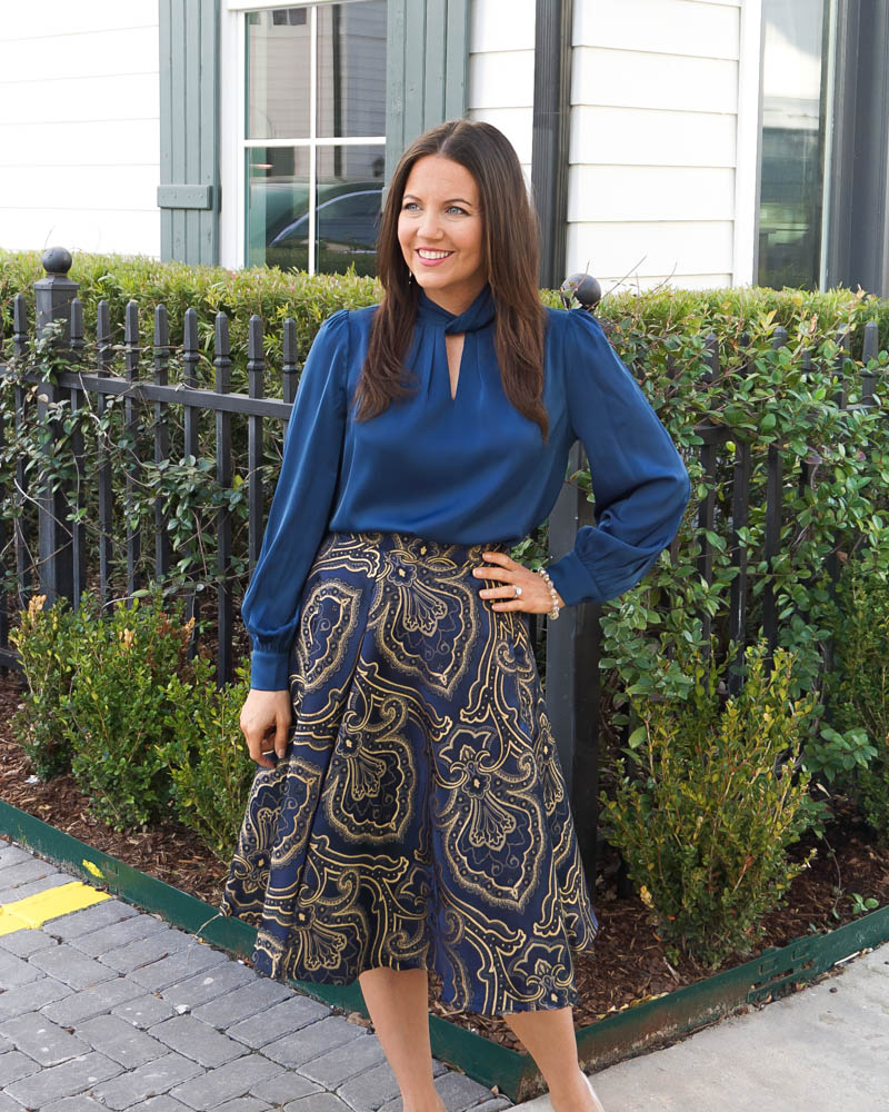 fall work wear | dark blue keyhole top | jacquard midi skirt | Petite Fashion Blogger Lady in Violet
