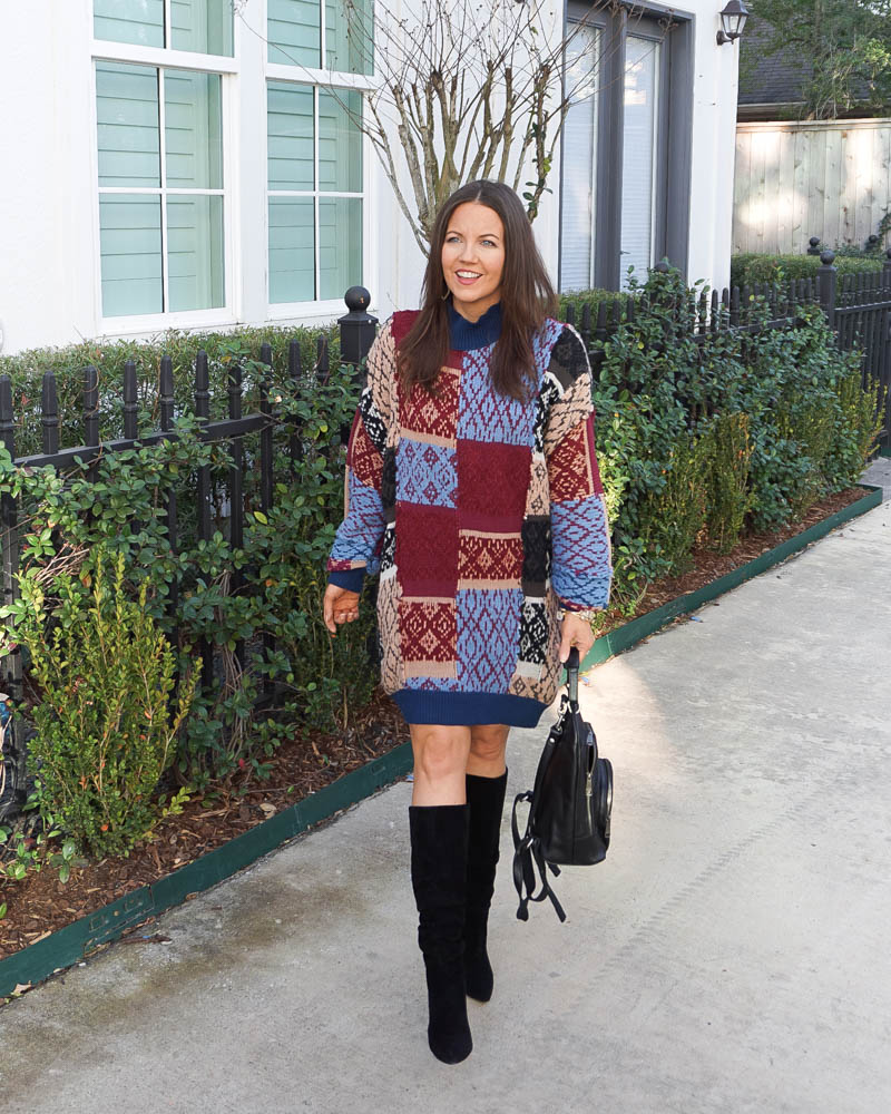 winter outfit | maroon and blue sweater dress | black knee high boots | Texas Fashion Blogger Lady in Violet