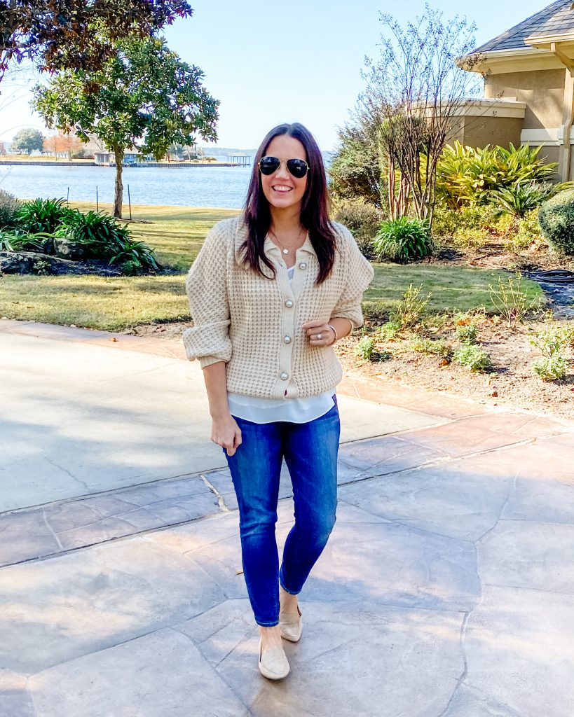 winter outfit | pearl button cardigan | tan loafer flats | Petite Style Blog Lady in Violet