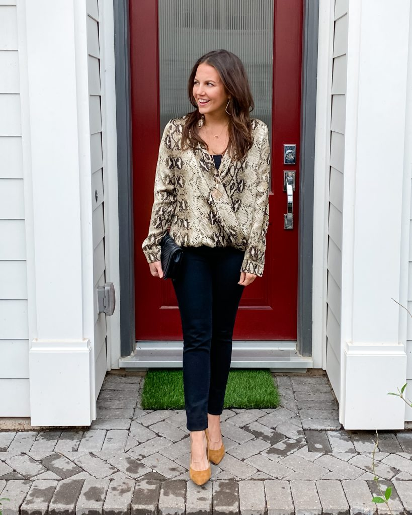 date night outfit | snakeskin wrap blouse | black skinny jeans | Houston Fashion Blogger Lady in Violet