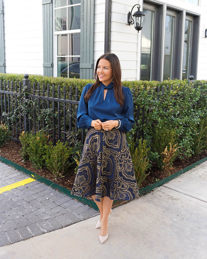 wedding guest outfit | high neckl blue blouse | gold navy jacquard midi skirt | Houston Fashion Blogger Lady in Violet