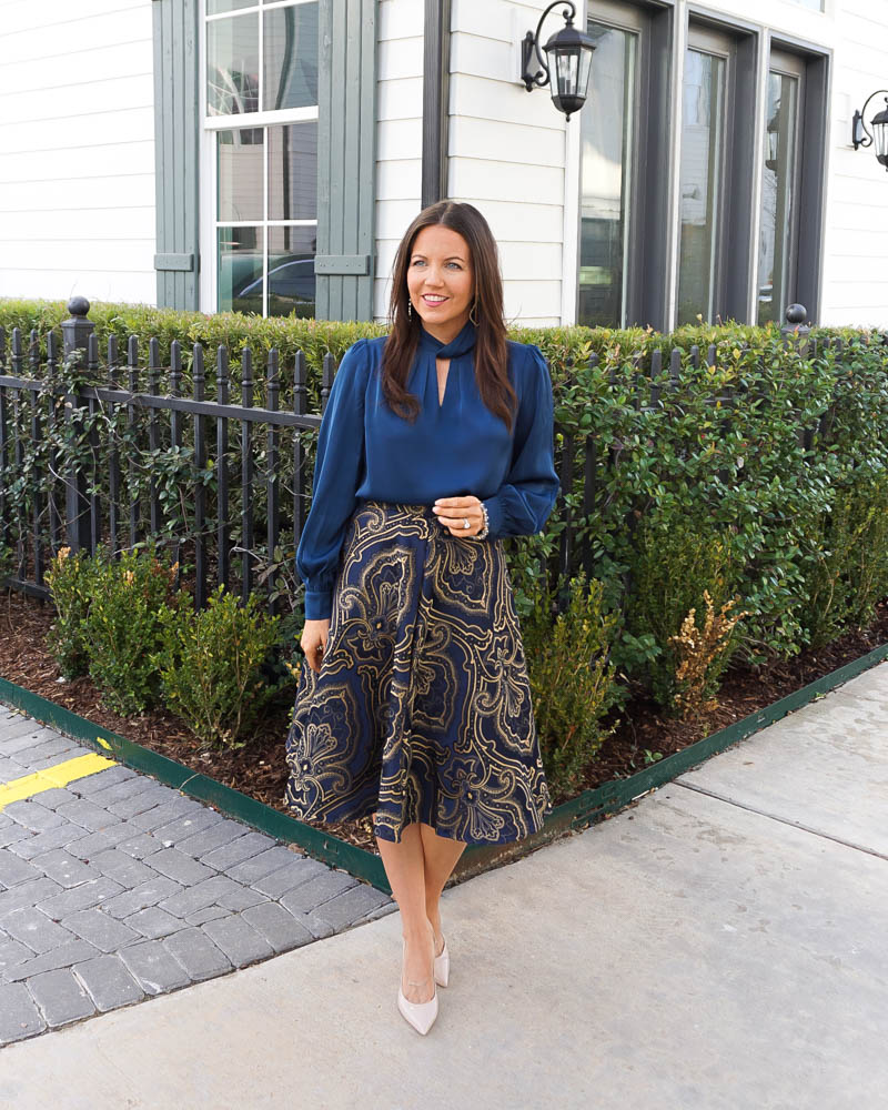 wedding guest outfit   high neckl blue blouse   gold navy jacquard midi skirt   Houston Fashion Blogger Lady in Violet