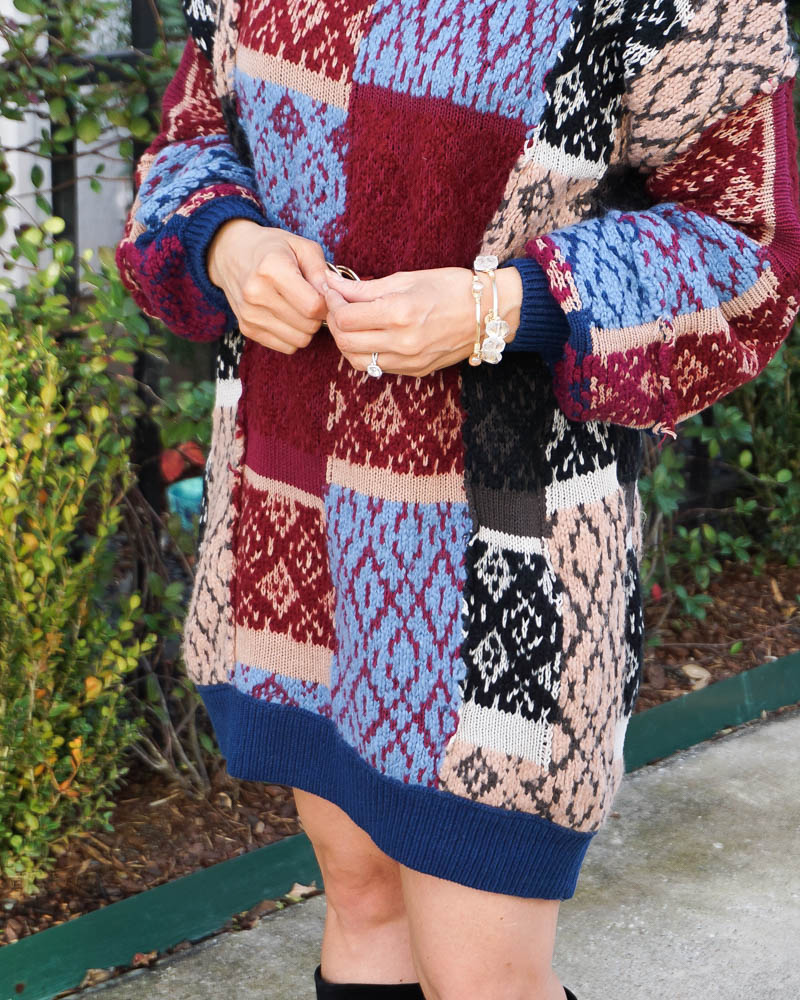 winter outfits | multi color sweater dress | stone gold bangles | Texas Fashion Blog Lady in Violet