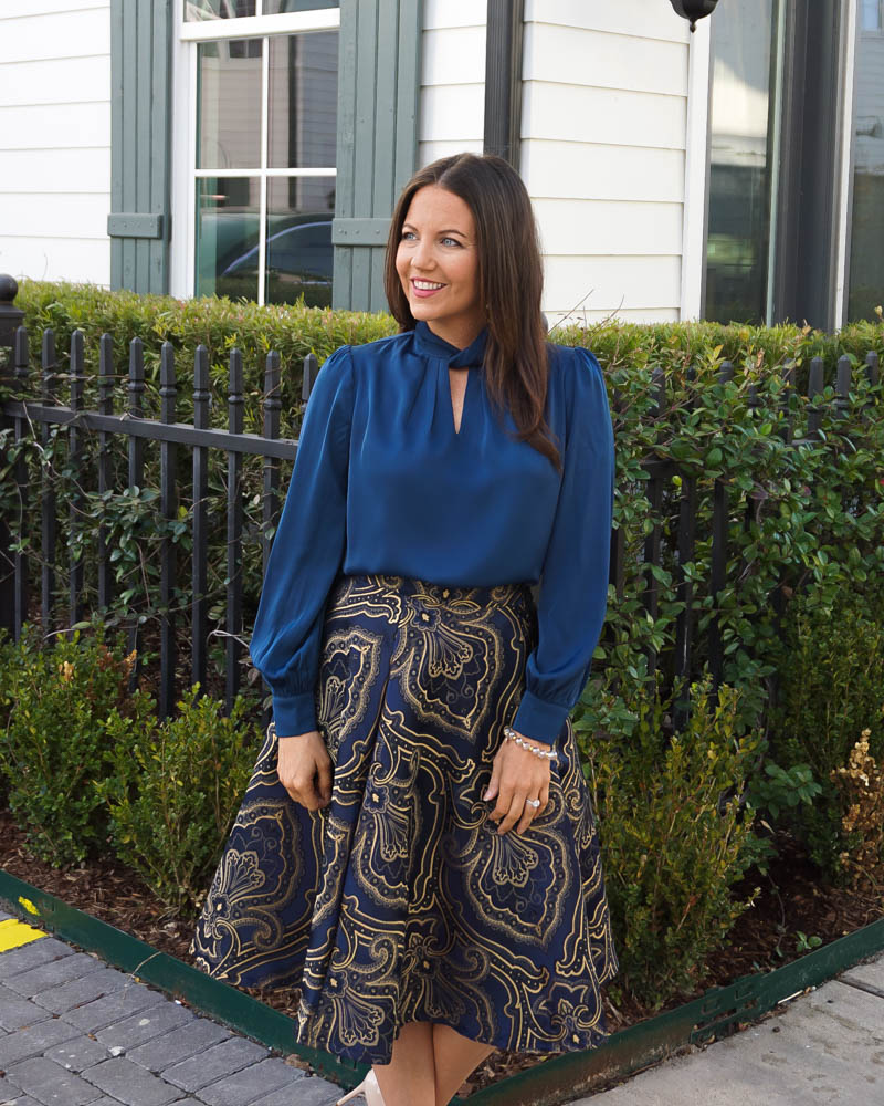 work attire for women | long sleeve dark blue blouse | blue gold flared skirt | Petite Fashion Blog Lady in Violet