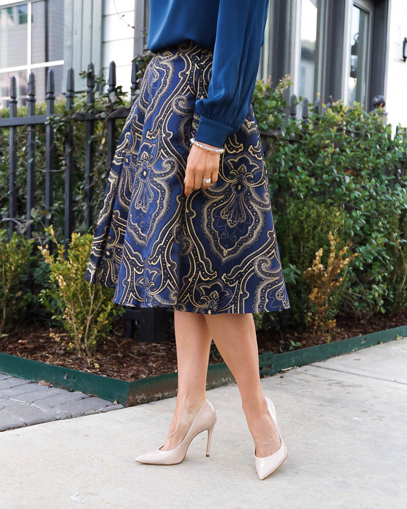 work wear for petite women | gold jacquard midi skirt | nude colored heels | Houston Fashion Blog Lady in Violet