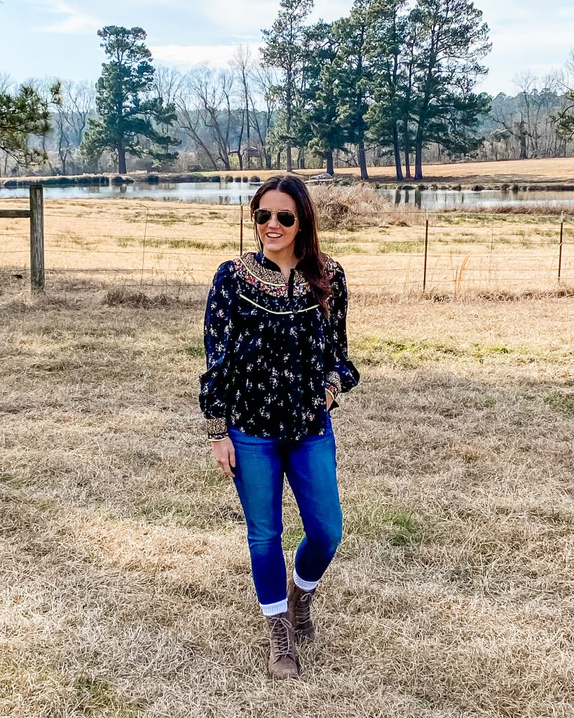 casual outfits | black long sleeve floral top | brown hiking boots | Petite Fashion Blog Lady in Violet