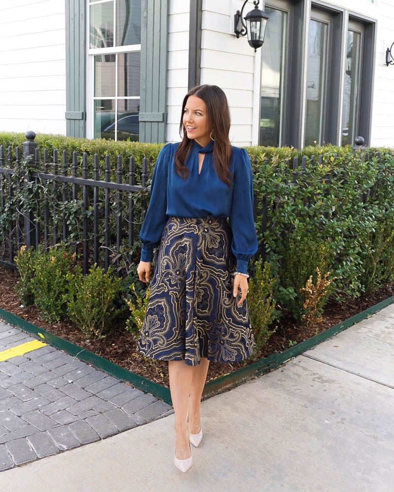 professional work outfit | long sleeve blue blouse | gold navy printed skirt | Texas Fashion Blog Lady in Violet