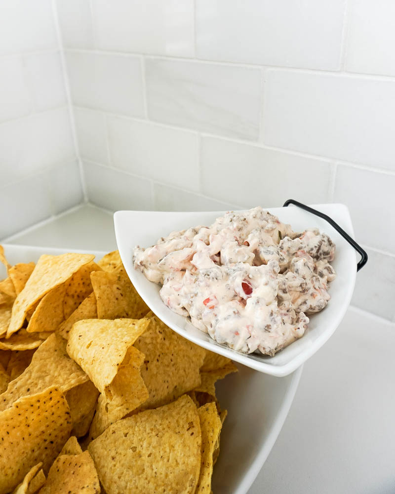 easy potluck party dip | sausage and cream cheese dip with rotel | Texas Blogger Lady in Violet