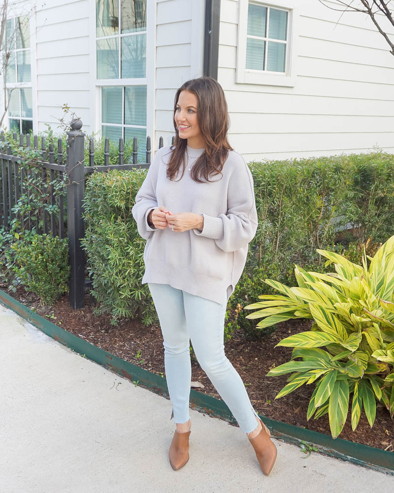 spring outfits | gray sweater | light blue frayed hem jeans | Houston Blogger Lady in Violet