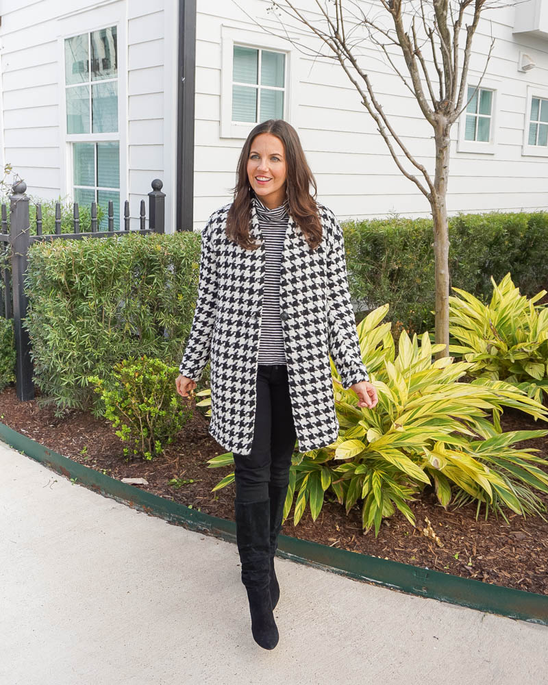 winter outfit | black white houndstooth coat black boots | Houston Fashion Blog Lady in Violet