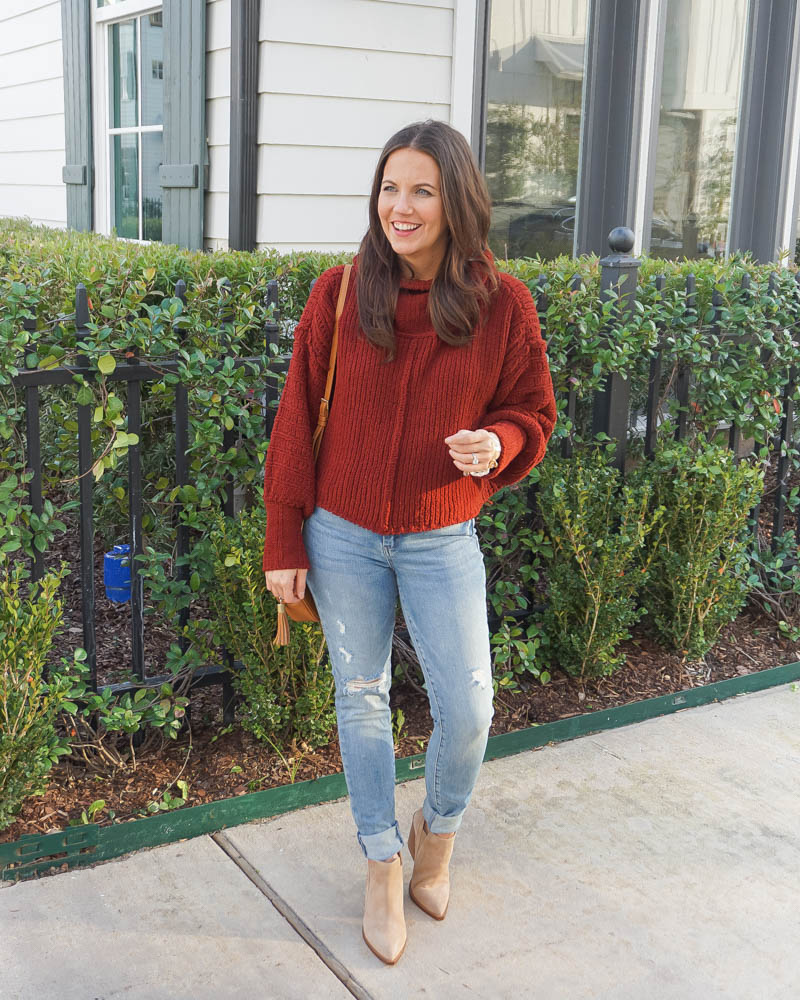 winter outfit | dark red sweater | light blue distressed jeans | Houston Fashion Blog Lady in Violet