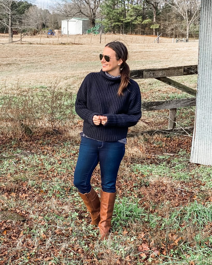 winter outfits | black sweater | brown boots | Texas Fashion Blog Lady in Violet