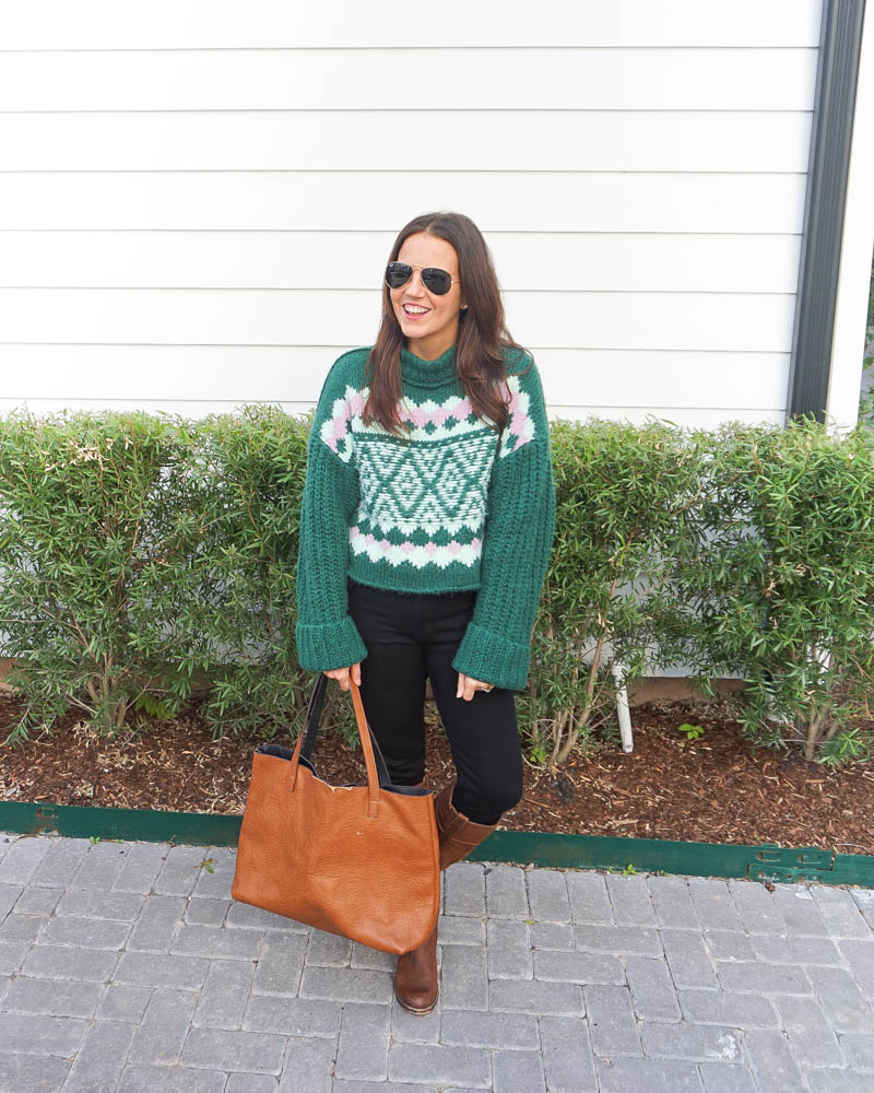 winter outfits | green sweater | brown tote bag | Houston Fashion Blog Lady in Violet