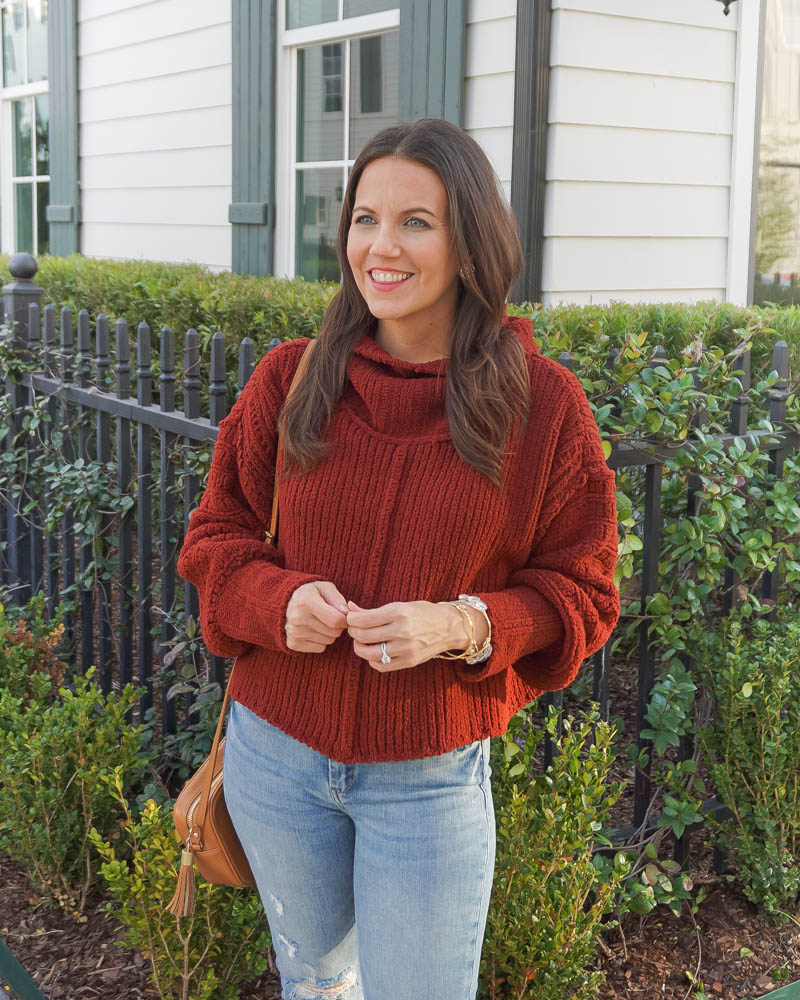 casual winter outfit | dark red sweater | stone bracelets | Texas Fashion Blog Lady in Violet
