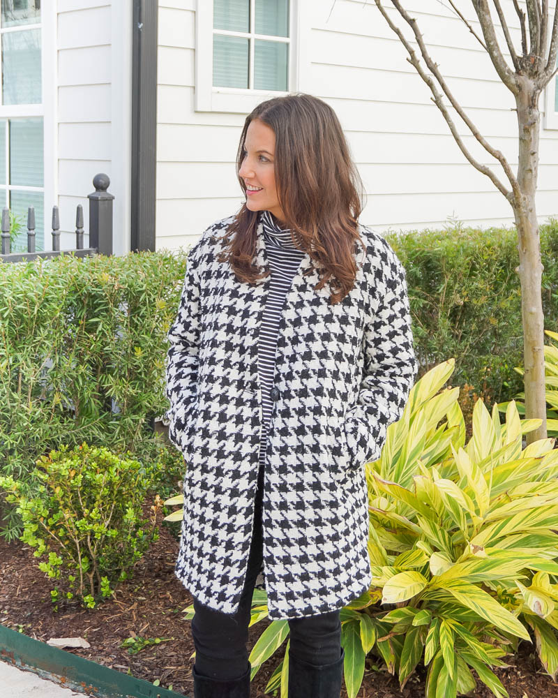 print mixing outfit | houndstooth coat | striped turtleneck tee | Petite Fashion Blog Lady in Violet
