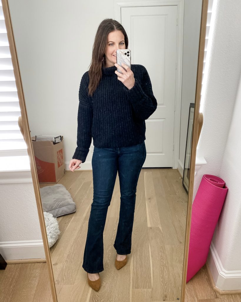 semi casual winter outfit | black sweater | flared jeans | Houston Fashion Blog Lady in Violet