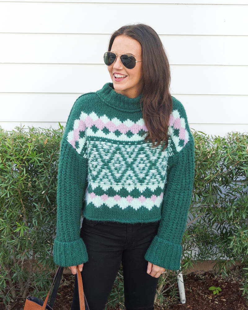 winter outfit | green cropped sweater | aviator sunglasses | Petite Fashion Blog Lady in Violet