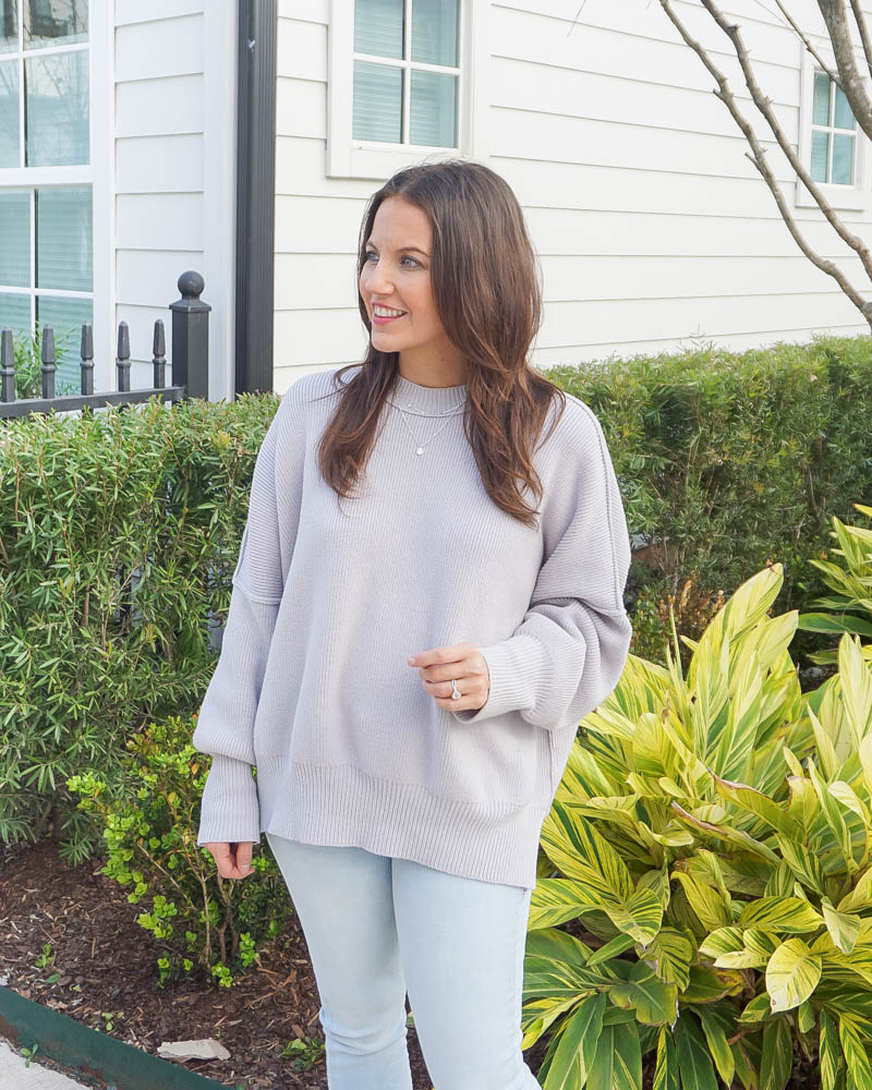 winter outfits | gray oversized sweater | layered silver necklace | Texas Blogger Lady in Violet