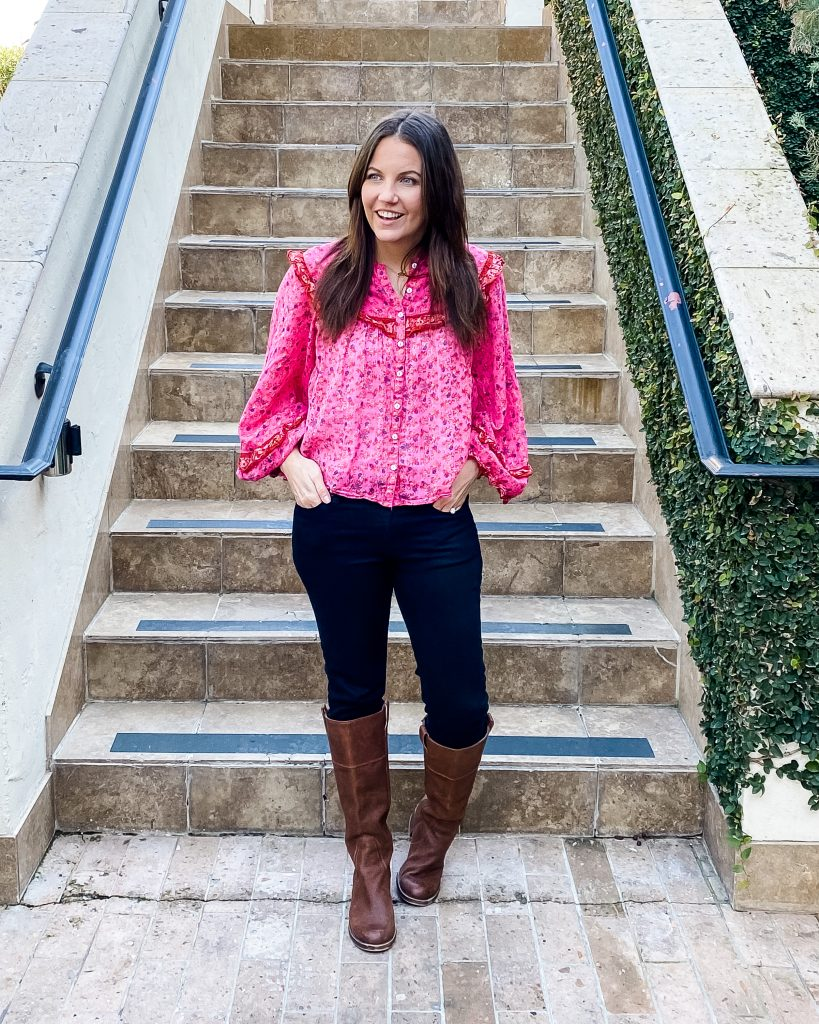 casual winter outfits | pink floral print blouse | brown boots | Petite Fashion Blog Lady in Violet