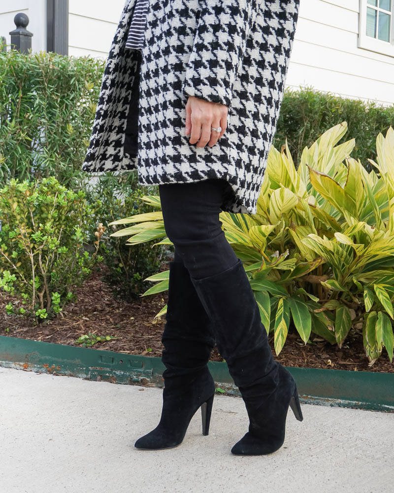 winter outfit | printed black whtie coat | black suede boots | Texas Fashion Blog Lady in Violet
