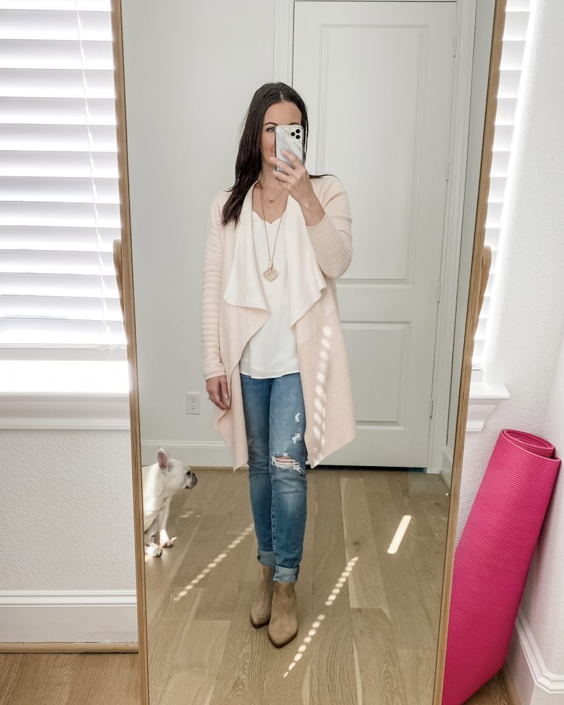 casual outfit | light pink cardigan | tan booties | Texas Fashion Blogger Lady in Violet