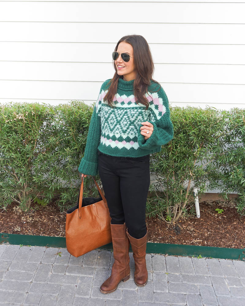 casual outfit | thick green sweater | black jeans | Houston Fashion Blogger Lady in Violet