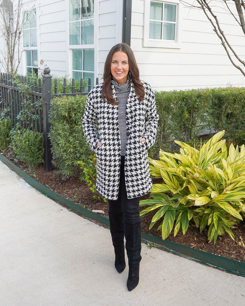 monochromatic outfit | houndstooth cocoon coat | black jeans | Houston Fashion Blogger Lady in Violet