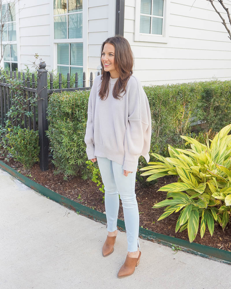 winter outfit | long gray sweater | light blue skinny jeans | Houston Fashion Blog Lady in Violet