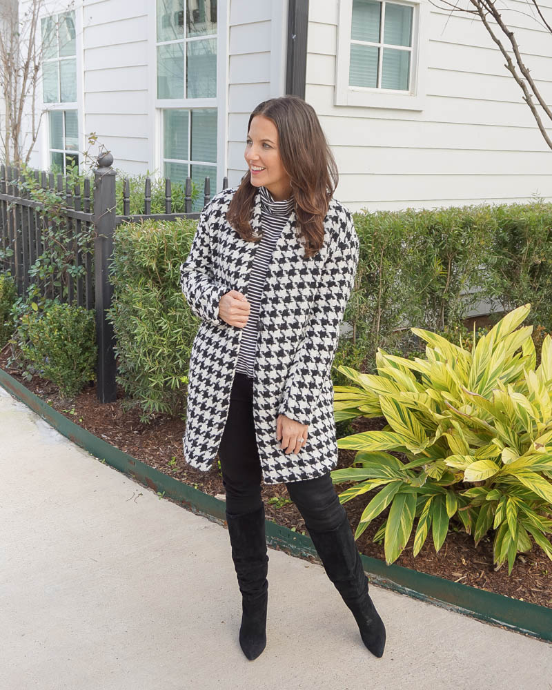 casual winter outfit | houndstooth print coat | striped turtleneck top | Petite Fashion Blogger Lady in Violet