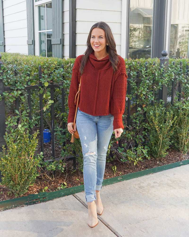 cold spring outfit | cropped sweater | ripped blue jeans | Texas Fashion Blogger Lady in Violet