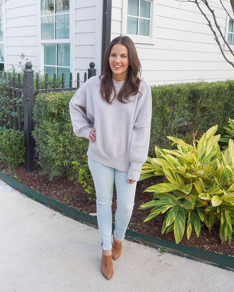 spring fashion | gray crewneck sweater | super light blue jeans | Texas Fashion Blog Lady in Violet