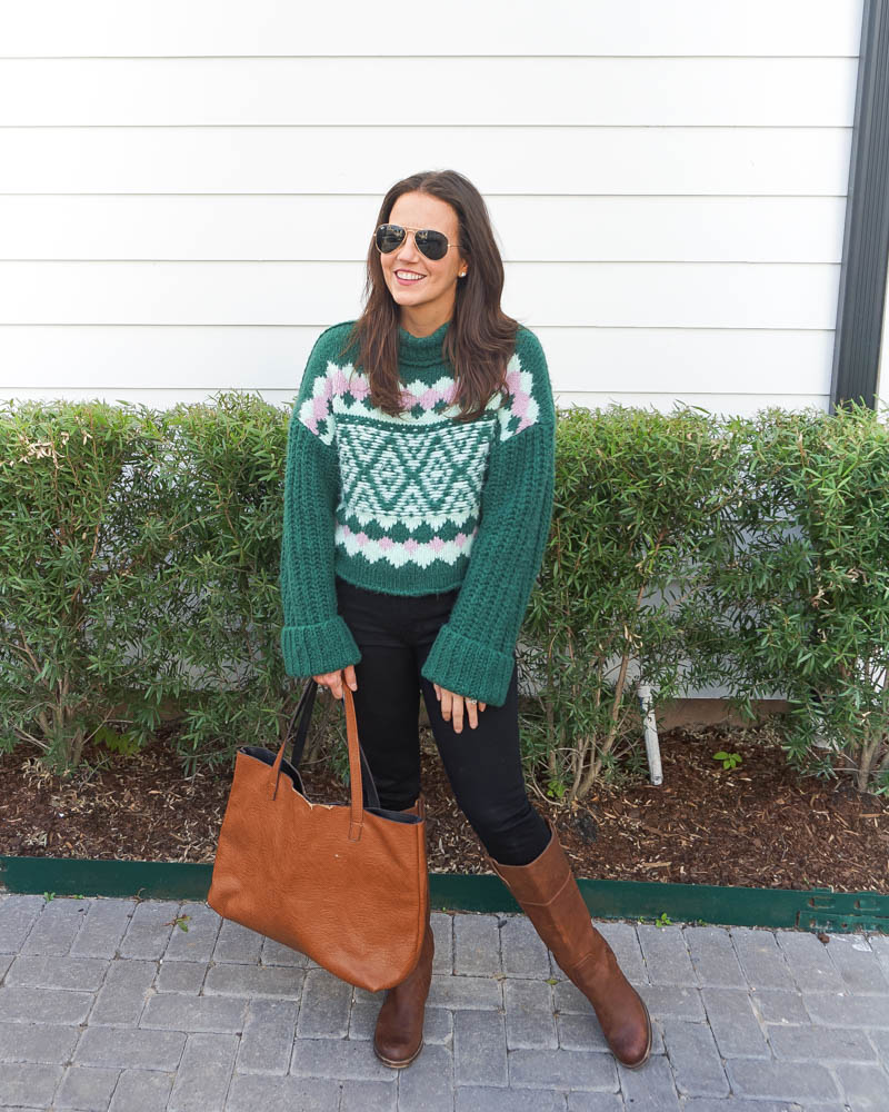 winter fashion | emerald green sweater | brown knee high boots | Petite Fashion Blogger Lady in Violet