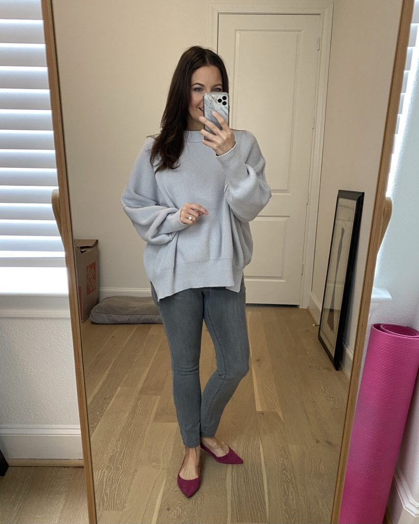monochromatic winter outfit | gray sweater | gray jeans | Petite Fashion Blog Lady in Violet
